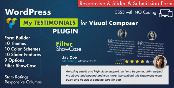 Testimonials Showcase for Visual Composer Plugin