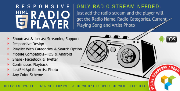 HTML5 Radio Player for WPBakery Page Builder
